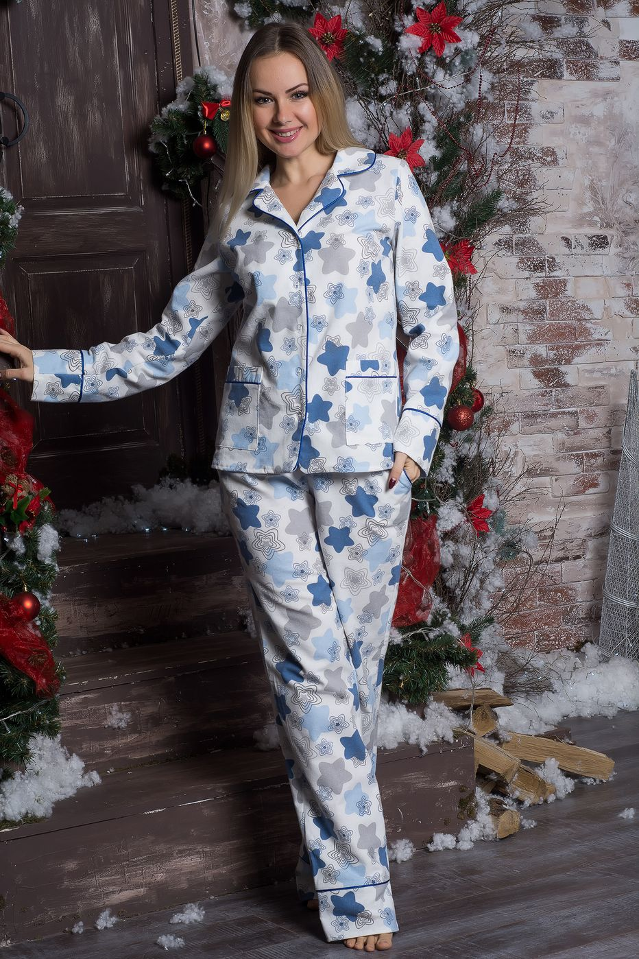 Пижама теплая из фланели П702 Пряники синие - купить в интернет ... 82b74e8f883b6