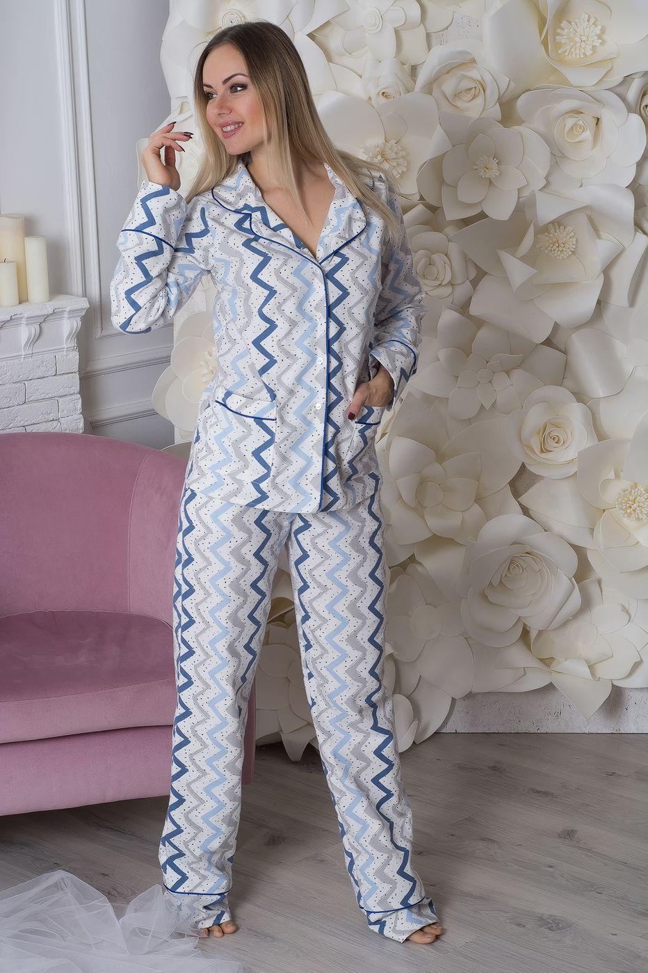 Пижама фланелевая П703 Синий зиг-заг - купить в интернет-магазине ... a38d32c13e827
