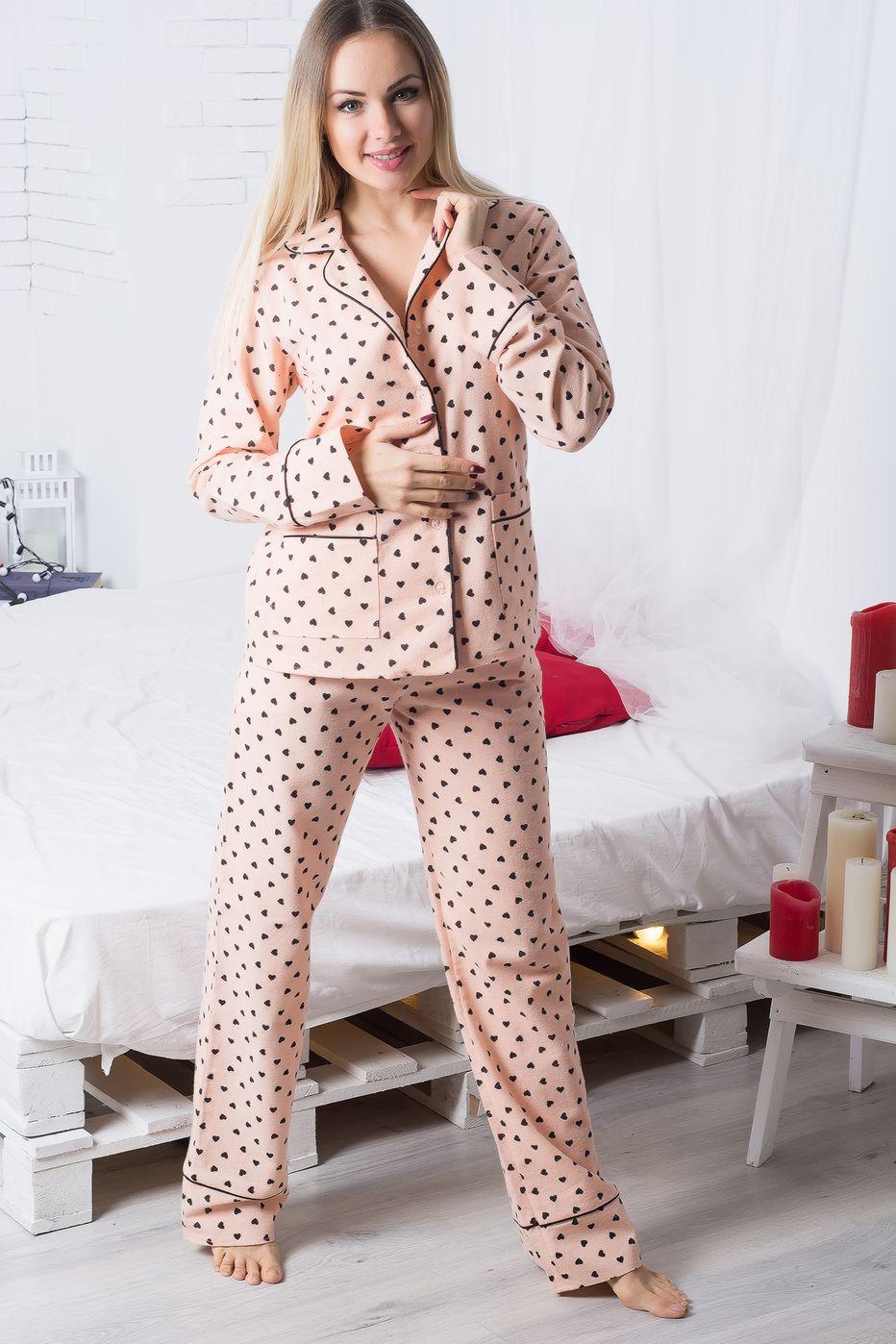 Пижама фланелевая П704 Сердечки на персике - купить в интернет ... c544643fbfd60