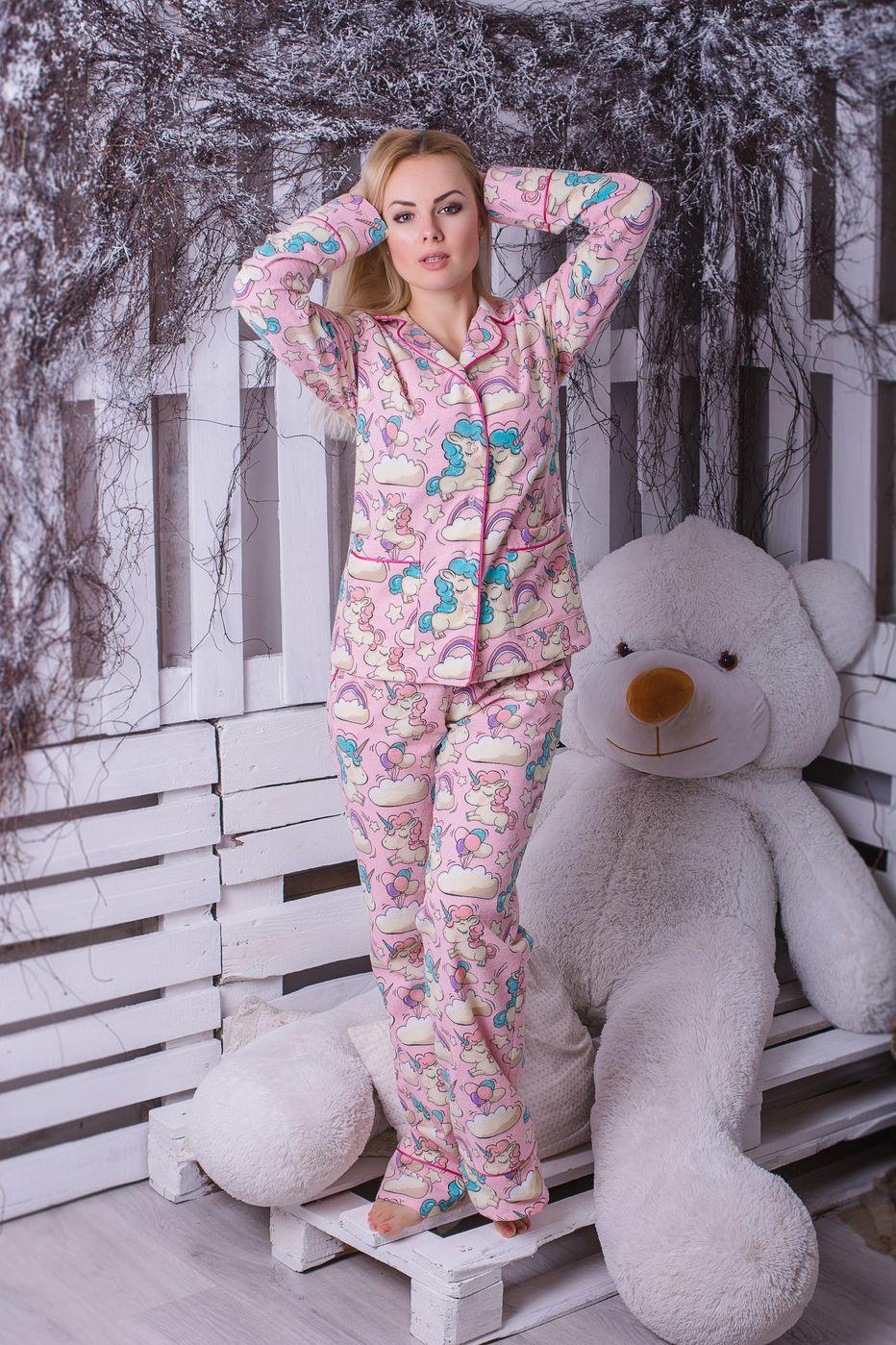 Пижама фланелевая MiaNaGreen П307 Единороги на розовом - купить в ... 438b91f0baf65