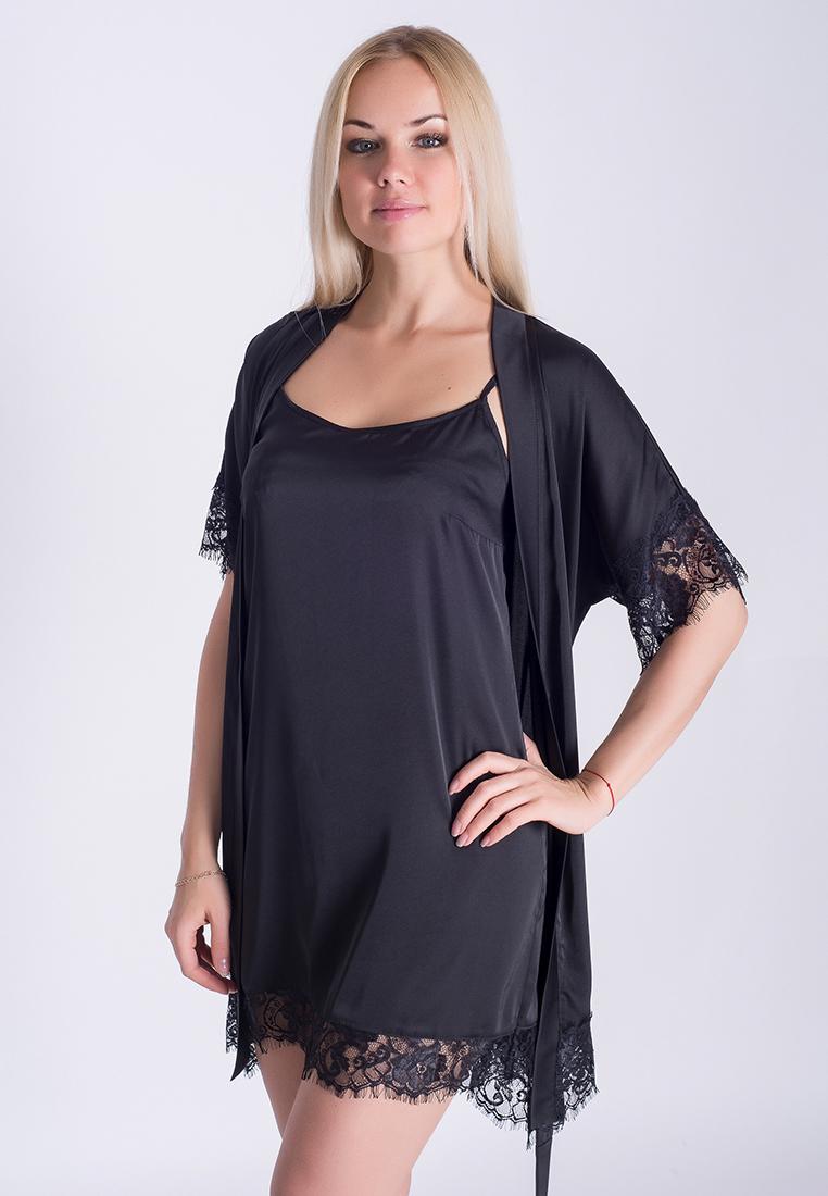 Ночная рубашка + халат MiaNaGreen К031н Черный - купить в интернет ... 3b5eb0bbaa752