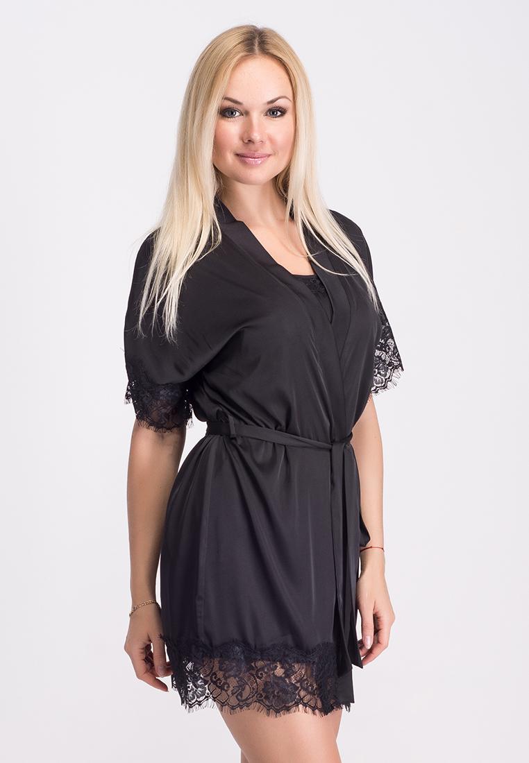 Каталог · Комплекты с халатами  Ночная рубашка + халат MiaNaGreen К031н  Черный 1d27c61eb0959