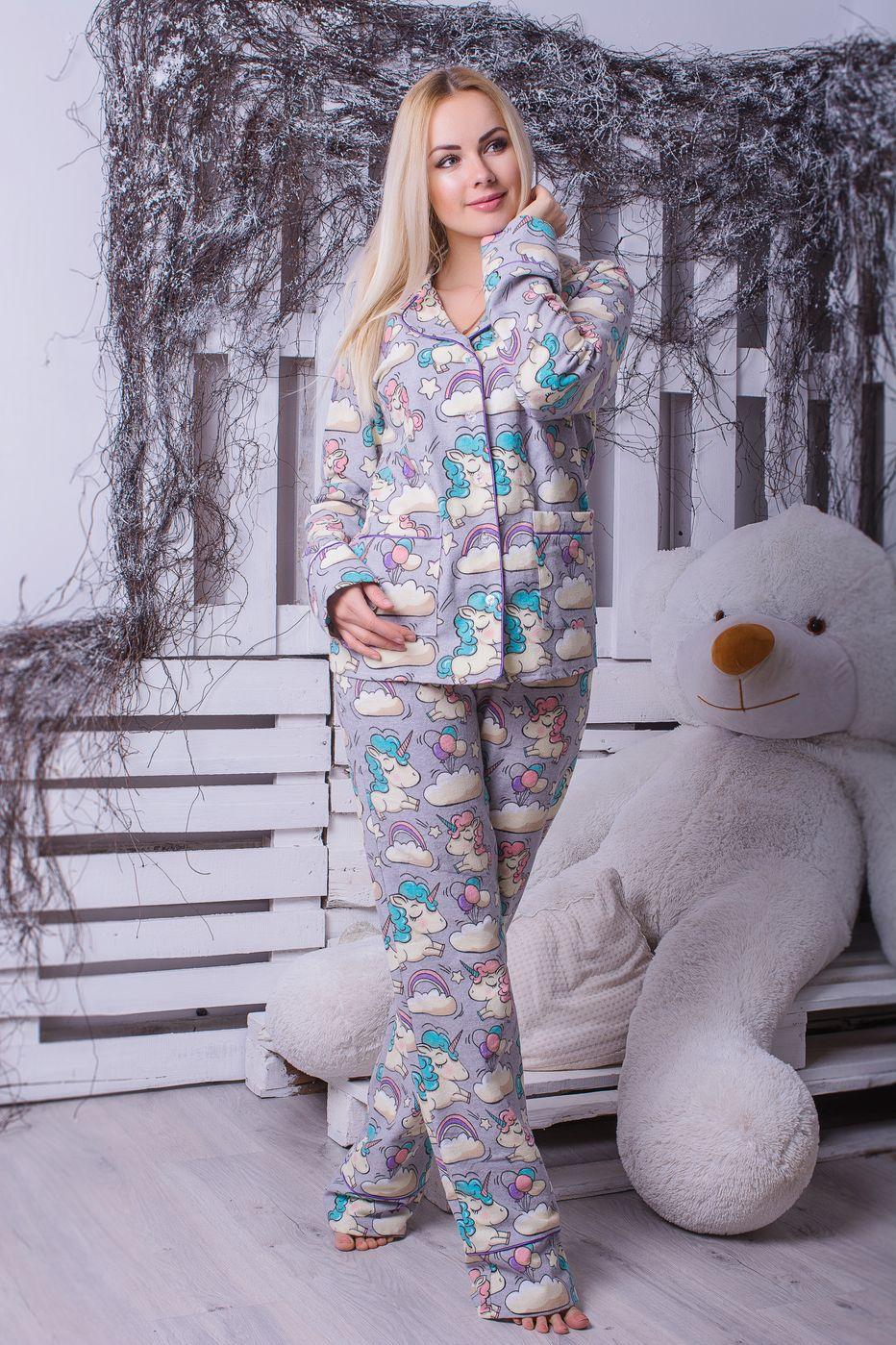 Пижама фланелевая MiaNaGreen П306 Единороги на сером - купить в ... 7c513d327fd0f