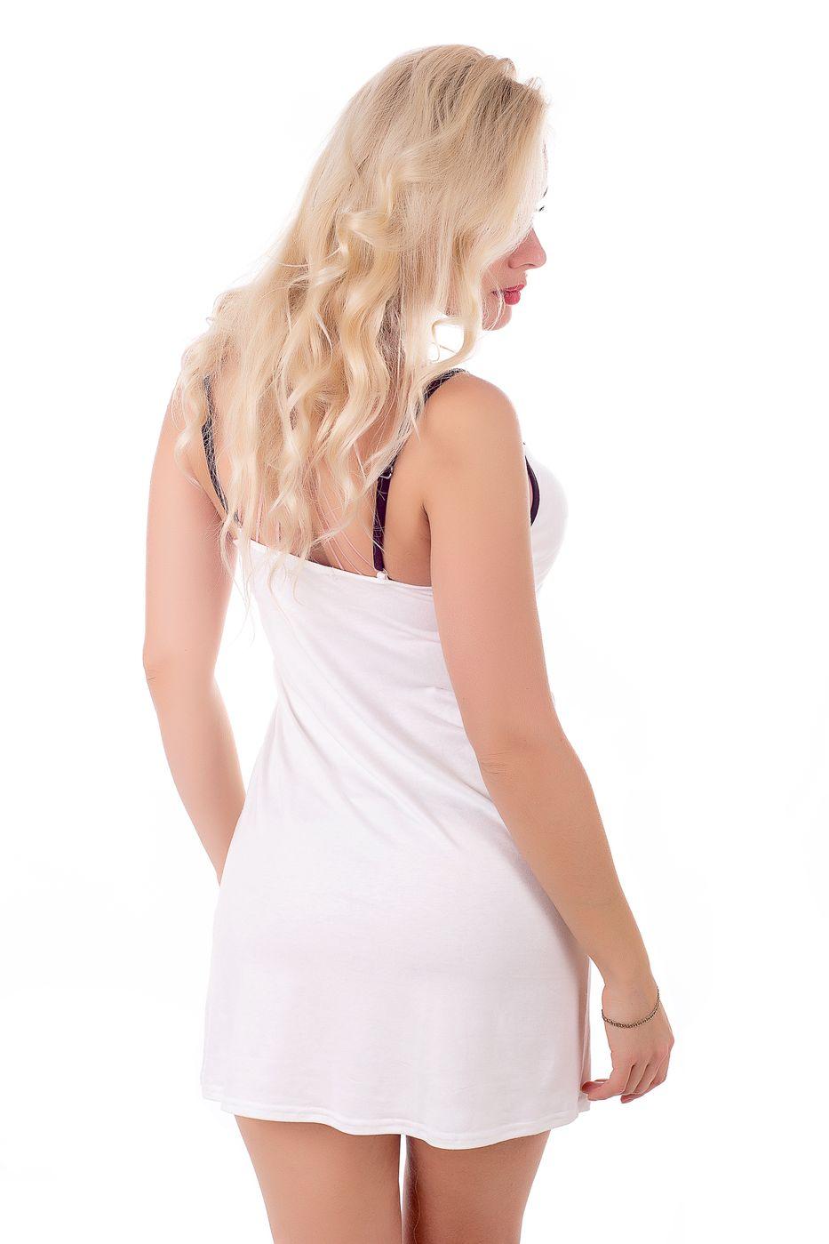 Ночная рубашка MiaNaGreen Н109х Молочный+коричневый - фото 3